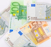 Pile of euro currency banknotes background — Stock Photo