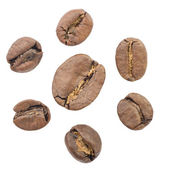 Seven coffee beans. isolated — Stock Photo