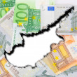 Cyprus on the background of euro money. — Stock Photo
