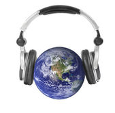Earth and headphones. Isolated. — Stock Photo