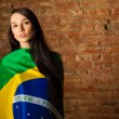 Woman in the Brazilian flag - Stock Photo