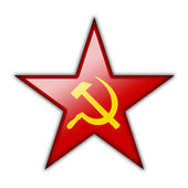 Glossy icon in the shape of the red star — Stock Photo