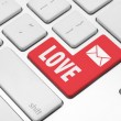 Stock Photo: Love key on the computer keyboard