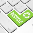 Recycle on the computer keyboard — Stock Photo