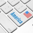 America on the computer keyboard — Stock Photo