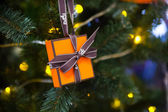 Close-up photo with decorations of christmas tree. — Stock Photo