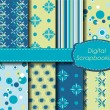 sistema de papel de scrapbooking digital — Vector de stock