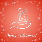 Christmas card with gift box — Stock Vector