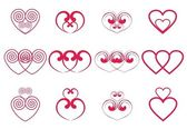 Double hearts — Stock Vector