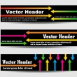 Headers with arrows and text — Stock Vector