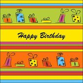 Birthday card with gifts — Vector de stock