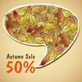 Hojas de otoño venta burbuja — Vector de stock