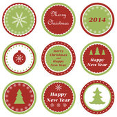 Christmas cupcake toppers — Stock Vector