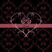 Tarjeta con corazón floral — Vector de stock