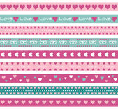 Borders with hearts — Stock Vector