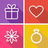 Flache symbole für valentinstag oder hochzeit — Stockvektor