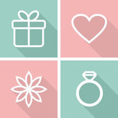 Flat icons for valentines day or wedding design — Stock Vector