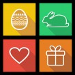 Stok Vektör: Flat icons for Easter holidays