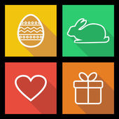 Flat icons for Easter holidays — Stock Vector