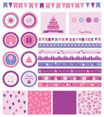 Set of birthday design elements. — Stock Vector