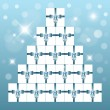 Pyramid made from white boxes - Stock Vector