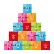 Pyramid made from boxes — Stock Vector