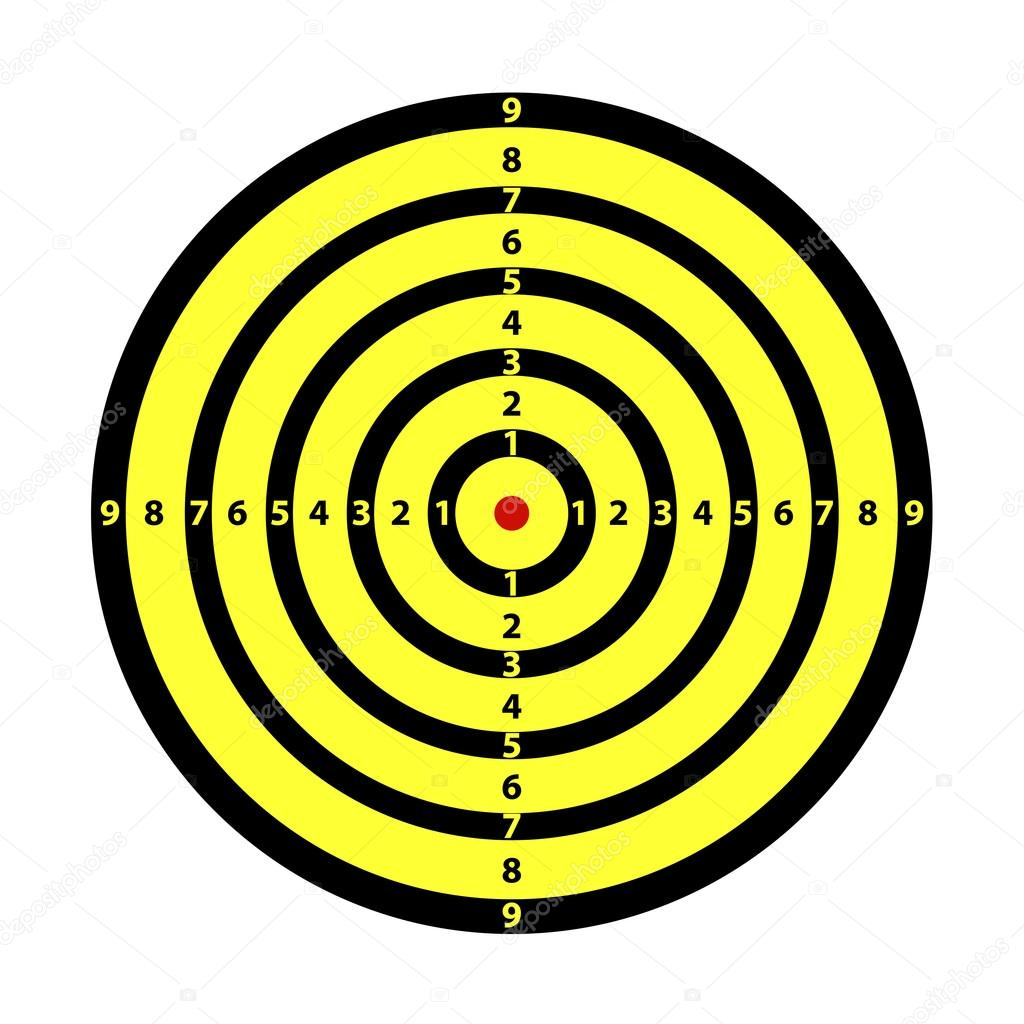 Yellow target isolated on white  Stock Vector #12764638