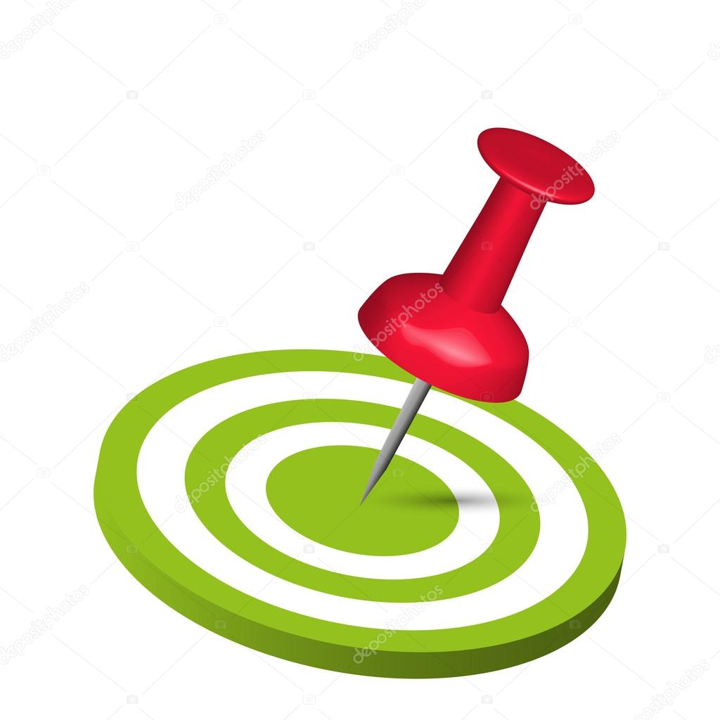 Pin Hitting A Target on white background — Stock Vector #12764639