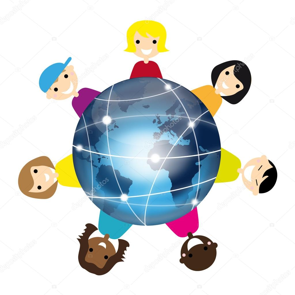 Children with earth isolated — Stock Vector #12835587