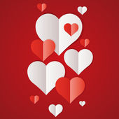 Red and white paper hearts — Vettoriale Stock