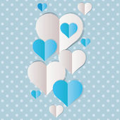 Blue and white paper hearts — Stock Vector