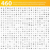 460 grey icons — Stok Vektör