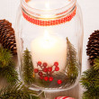 Burning lantern and christmas decoration — Stock Photo