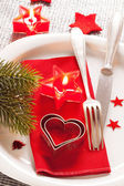 Christmas table place setting — Photo