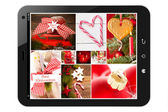 Tablet pc with christamas pictures — Stockfoto