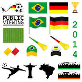 Soccer set brazil and germany — Stock Vector