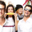 Young friends smiling and one middle aged woman cook at street — Stock Photo #10180234