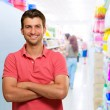 Happy Man In Supermarket - Stock Photo