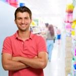 Happy Man In Supermarket — Stock Photo #12665007