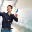 Man holding flag and miniature of airplane — ストック写真 #12665146