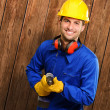 Engineer Holding Drill Machine — Stock Photo #12665560