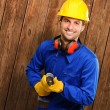 Engineer Holding Drill Machine — Stock Photo