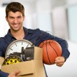 Man Holding Box And Basketball — Stock Photo #12665676