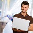 Portrait Of A Young Male With Laptop — Stock Photo