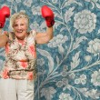 Senior Woman Boxer Cheering — Stock Photo