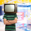 Man With Television Head — Stock Photo