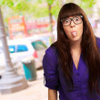 Stock Photo: Crazy Woman With Stick Out Tongue