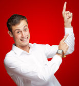 Portrait Of Handsome Mature Man Pointing Up Over — Stock Photo