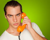 Portrait Of A Man Talking On Telephone — Stock Photo