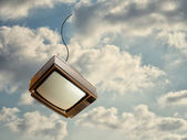 Old Television Falling From Sky — Stock Photo